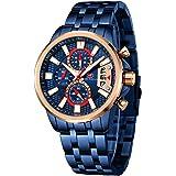 MINI FOCUS Stainless Steel Watches for Men Fashion Sport Chronograph Watch Man Luxury Luminous Quartz Wristwatch Blue Rose Go