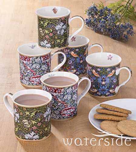 6 pièces Ensemble de William Morris Mug en porcelaine fine