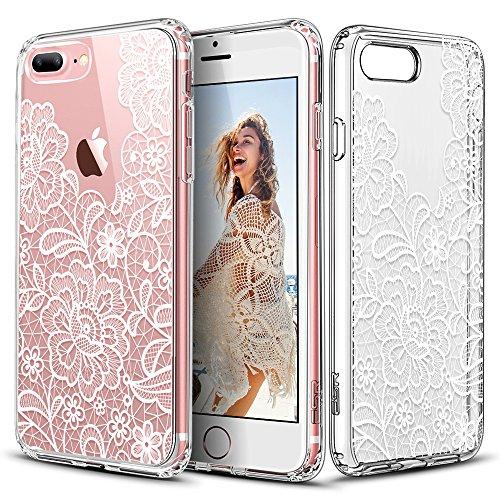 Coque iPhone 7 Plus, Coque iPhone 8 Plus Mandala, ESR Coque Silicone Transparente Motif Mandala Tribal Fleur Henné Imprimé, Housse Etui de Protection Bumper Premium [Anti Choc] [Ultra Fine] [Ultra Lég Fleur en Dentelle Blanche