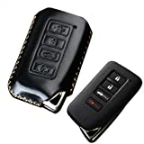 Black Luxury Leather Cover Smart 4 Buttons Keyless Entry Remote Car Key Fob Case Cover Keychain Skin for Lexus 2012 2013 2014