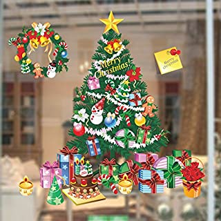 ANPHSIN 2 PCS Christmas Window Wall Stickers Decorations- Merry Xmas Tree- Show Shop Glass Door Home Wall Art Decals - X Large
