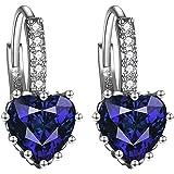 Lovans Orecchini a perno eleganti con cristalli di strass a forma di cuore da donna, regalo per anniversario di matrimonio
