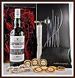 Geschenk Set Laphroaig Select Whisky mit Flaschenportionierer + 10 Edel Schokoladen von DreiMeister & DaJa + 4 Whisky Fudge, kostenloser Versand