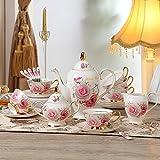 Chaoson Full Set Noble Bone China Rose Coffee Set Porcelain Tea Cup Mug Ceramic Pot Jug Jar Teapot Saucer Drinkware for Wedding Gifts