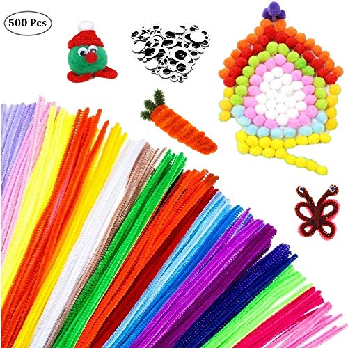 500pcs Pipe Cleaners Craft Set,MOREFUN Chenille Stems Fuzzy Sticks Craft Supplies for Girls Kids DIY School Art Projects Educational Toys [100 Pipe Cleaners, 250 Pom Poms, 150 Wiggle Eyes] (500 Pack)