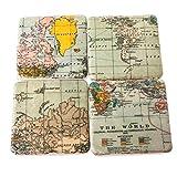 Gisela Graham-Set di 4sottobicchieri in ceramica Atlas mappa del mondo vintage