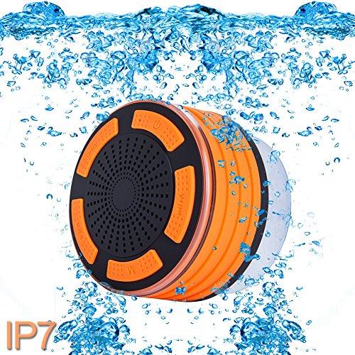 ParaCity Dusch-Lautsprecher, wasserdicht IP67,tragbares kabelloses Design mit Bluetooth 4.0,Lautsprecher mit Super Bass HD-Sound und LED-Licht, für Pool / Strand / Bad / Boot / Sauna / Spa Orange