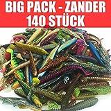 Jackson Gummifisch Kunstköder XXL Set Profi - Zander Angeln 10-13cm - 140 STÜCK