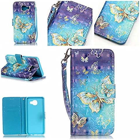 Cozy Hut Shinning Strass Diamante Custodia portafoglio / wallet / libro in pelle per Samsung Galaxy A3 (2016) A310 - Custodia flip cover in Design farfalla d'oro con scompartimento tessere e funzione supporto in multicolore blu bianco - farfalla d'oro