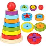 Miunana Cubi, piramidi e Anelli componibili Giocattolo Impilabile per Bambini