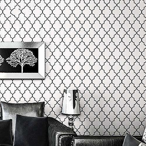 Unterhaltung Einheiten-möbel (EICMD Modernes unbedeutendes Gitterschwarzweiss-Tapetenrollentapetenschlafzimmer Fernsehzimmerdekoration des modernen geometrischen Stils 10 Meter * 0,53 Meter)
