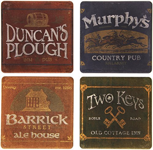 CoasterStone AS2340 Absorbent Coasters, 4-1/4-Inch, Irish Pubs, Set of 4 by CoasterStone - Pub Coaster Set