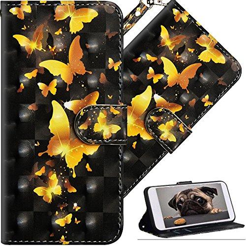 COTDINFOR Huawei Y6 2018 Hülle für Geschenk Lederhülle 3D-Effekt Painted Kartenfächer Schutzhülle Protective Handy Tasche Schale Standfunktion Etui für Huawei Y6 2018 Golden Butterflies YX.