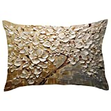 Sencillo Vida Fundas De Cojin Árbol de Flores Impresión Almohada Caso de Lino Pillow Case Sofa Cushion Decoración del Hogar para Salón, Dormitorio, Oficina, Cama o Coche, (30 x 50 cm)