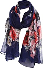 Forthery Women's Ladies Fashion Soft Large Silk Floral Print Shawl Wraps Scarf