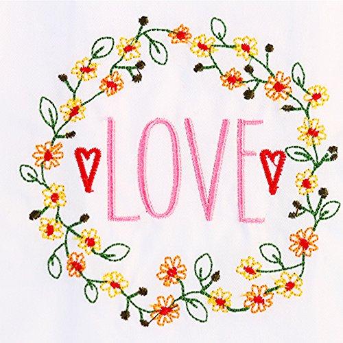 Yazi weiß bestickt Floral Love gemusterter Baumwolle Dinner Servietten Tisch Linens Dekorationen 45x 64,8cm Dinner Servietten Floral