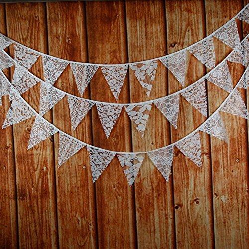 Garlands 10 Feet Weinlese -Gewebe-Flagge Banner Wimpel Flaggen Stoff Shabby Chic Hochzeit Dekoration (Weiß) ()
