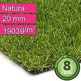 Kunstrasen Rasenteppich Natura für Garten - Florhöhe 20 mm - Gewicht ca. 1903 g/m² - UV-Garantie 8 Jahre (DIN 53387) - 2,00 m x 1,50 m | Rollrasen | Kunststoffrasen
