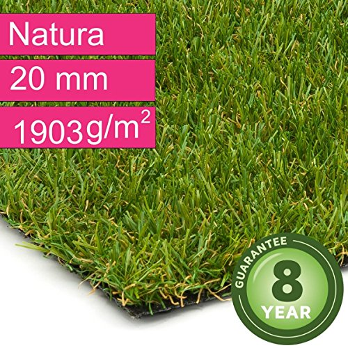 Kunstrasen Rasenteppich Natura für Garten - Florhöhe 20 mm - Gewicht ca. 1903 g/m² - UV-Garantie...