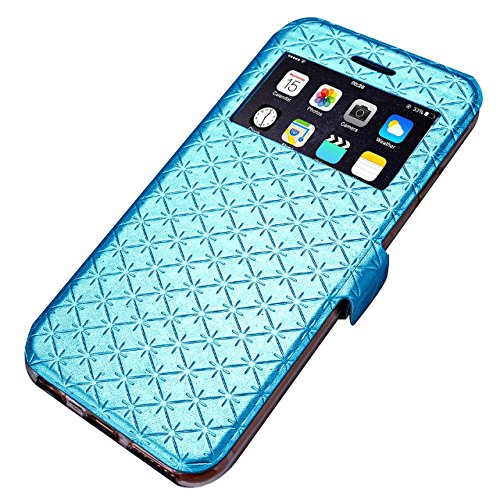 iPhone Case Cover Carré de diamant motif en treillis en cuir PU boîte de vitrine souple en TPU couvrir cas de stand avec slot pour carte IPhone 6 6S ( Color : Orange , Size : IPhone 6S ) Blue