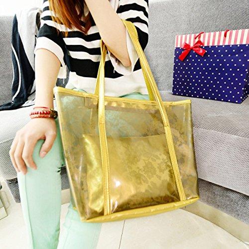 Donne Impermeabile Colori Della Caramella Trasparenti Borse Da Spiaggia Cristallo Nuoto Borsa A Tracolla Gold
