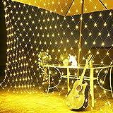 100er LED Lichternetz außen Solar,1.5m x 1.5m,Netz Mesh Baumwickel Beleuchtung Lichtervorhang Lichterkette Deko Leuchte für Weihnachten...