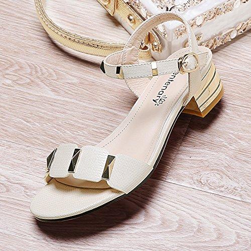 Estate donna scarpe di cuoio estate sandalo bocca pesce,40 gold Beige