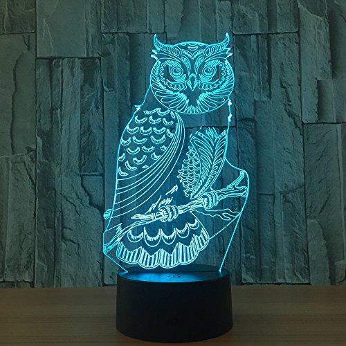 Lampada da tavolo a luce notturna con gufo, utilizzata per la decorazione della stanza, luce notturna per bambini, luce per interruttore a sfioramento alimentata da regalo per bamb