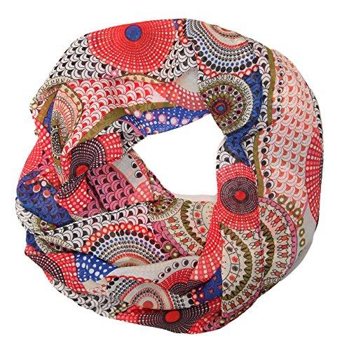 ManuMar Loop-Schal für Damen | feines Hals-Tuch mit Punkte Pünktchen Kreise-Motiv | Schlauch-Schal in Bunt - Das ideale Geschenk für Frauen