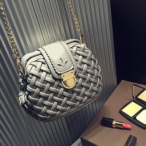X&L Women's weben Schlösser Mode geschleudert EZ Kette Umhängetasche22*17*12 light gray