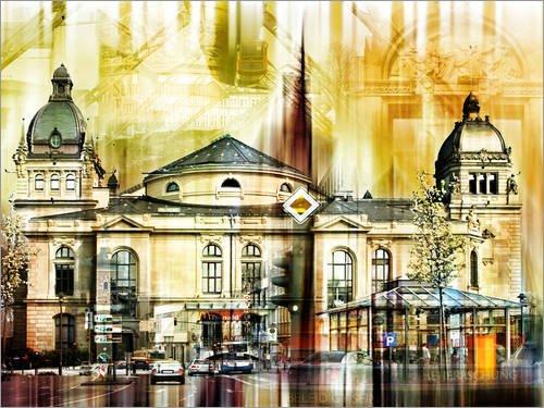 Leinwandbild 120 x 90 cm: Wuppertal Skyline von Städtecollagen - fertiges Wandbild, Bild auf...