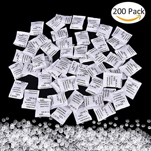 Bolsas antihumedad, 200 unidades de 1 g de gel de sílice, elimina la humedad y los olores de moho