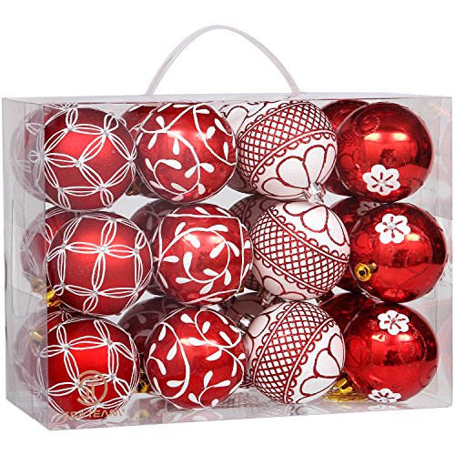 """Sea Team 70mm/2.76"""" Delicate Floral Theme Painting & Glittering Christmas Tree Pendants Shatterproof Hanging Christmas Ball Ornaments Set - 24 Pieces (Red)"""