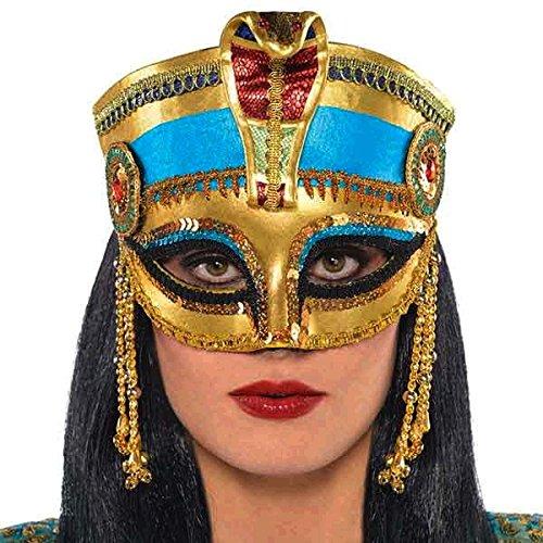Paso atrás en los días de la antigua Egipto con esta declaración oro Máscara, con una central de Cobra, tamaño grande, diseño peep agujeros y ojo de gato cuentas borlas. Un accesorio perfecto para un faraón.