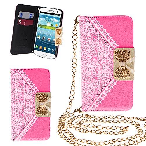 Xtra-Funky Esclusivo PU cuoio del modello del merletto e fiocco dorato di vibrazione di caso della copertura della borsa con la carta di credito e denaro slot e staccabile Catenina d'oro per Samsung Galaxy S3 Mini (i8190) - Verde