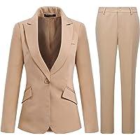 YYNUDA - Tuta da donna in 2 pezzi, stile casual, con un bottone, da lavoro, da ufficio