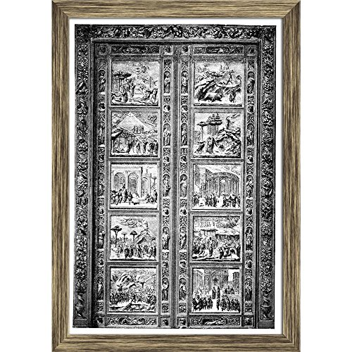 Pitaara Box 19Th Century Door Engraving at Duomo Florence Italy Canvas Painting Antique Golden Frame 16 X 23.2Inch - Florence Antique Print