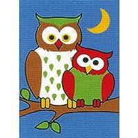 Vervaco Nachteulen Anfänger-Stickpackung vorgezeichnet, Baumwolle, Mehrfarbig, 13 x 18 x 0.3 cm