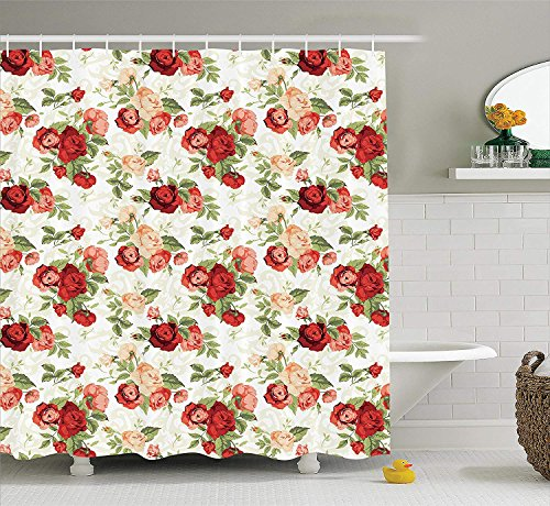 BUZRL House Decor Collection, Roses Bouquet Romance Holiday Love Anniversary Luxury Ornament Decorating Picture, Polyester Fabric Bathroom Shower Curtain Set with Hooks, Red Green Coral,66x72 inches