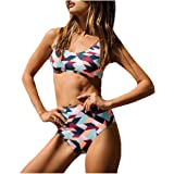 CuteRose Womens Tankini Multi Color Bikini Set Swimsuits Bathing Suits