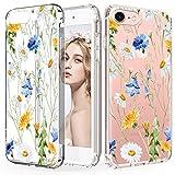 CIUTEK Hülle für iPhone 6 Hülle Durchsichtig Transparent Weiche Malerei TPU Silikon Blumenmuster Handytasche HandyHülle Etui Schale Schutzhülle Case Cover für Damen