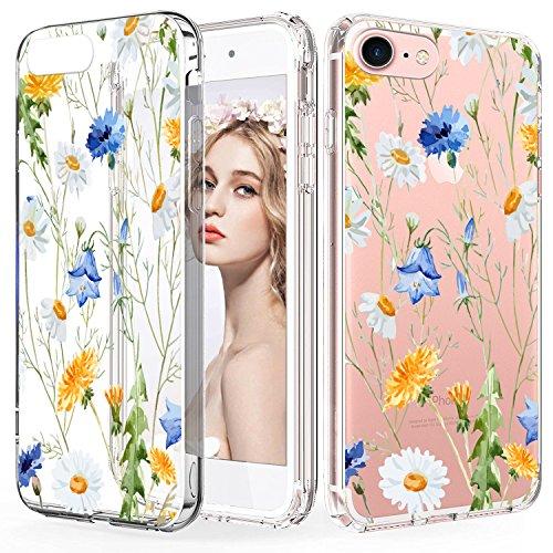 CIUTEK Hülle für iPhone 6 Hülle Durchsichtig Transparent Weiche Malerei TPU Silikon Blumenmuster Handytasche HandyHülle Etui Schale Schutzhülle Case Cover für Damen -
