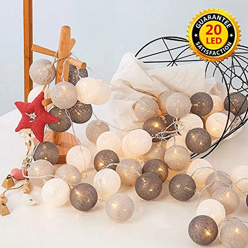ELINKUME LED luces hadas 20 bolas algodón,blanco