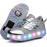 Unisex Bambini e Ragazze Scarpe da USB Ricaricare LED Luce Singola Doppia Ruota Telescopico Skateboard Sportive con Rotelle A