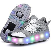 Scarpe LED,Scarpe da Skateboard a LED Light-UP,per Ragazze Unisex per Bambini,Ruote Doppie Singole,Luce 7 Colore…