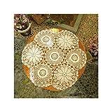 Aspire Tischdecke, handgehäkelte Spitzendecke, 61 cm, rund, baumwolle, B White, Einheitsgröße