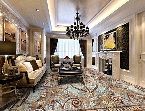 Marmor Mosaik-fußboden-fliese (3d wallpaper Marmor-Muster 3d Bodenbelag Fliesen Mosaik-Tapeten für Boden 3d selbstklebende Tapete Zxfcccky-450X300CM)
