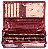 Hill Burry Leder Geldbörse | echtes Vintage Leder - XXL weiches Portemonnaie (Rot)