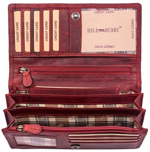 Hill Burry Portafoglio Donna | Portamonete in vera Pelle di Classe | Portafoglio signore in pelle di qualità con un aspetto vintage | Porta Carte di Credito - Portafogli | Porta Banconote, rosso