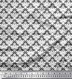 Soimoi Grau schwere Leinwand Stoff verzierte filigran